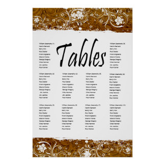 Leather and Lace Seating Chart Poster