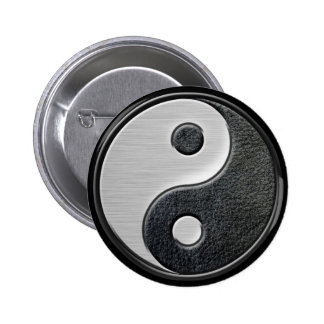Leather and Steel Effect Yin Yang Graphic 6 Cm Round Badge