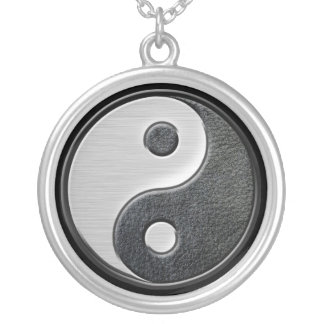 Leather and Steel Effect Yin Yang Graphic Silver Plated Necklace