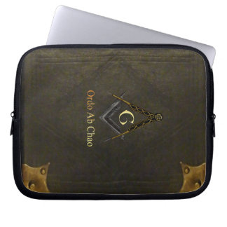 Leather Bound Book with Square and Compass Laptop Sleeve