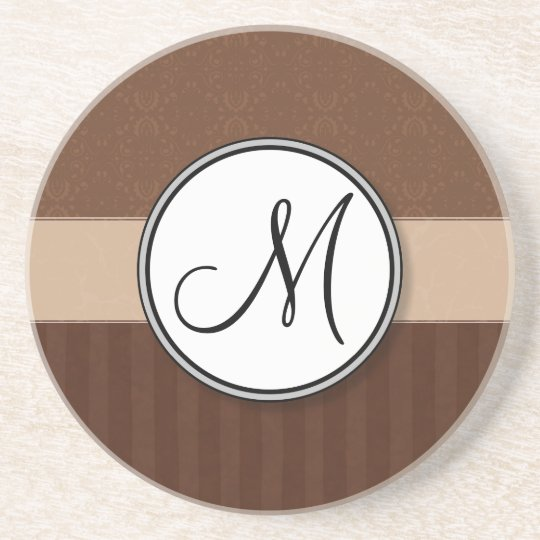 Leather Brown Damask with Stripes and Monogram Coaster