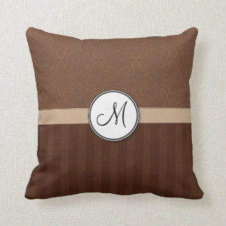 Leather Brown Damask with Stripes and Monogram Cushion