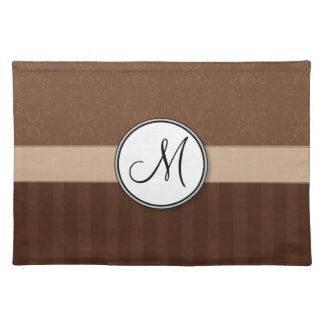 Leather Brown Damask with Stripes and Monogram Placemat
