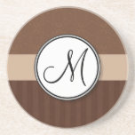 Leather Brown Damask with Stripes and Monogram Sandstone Coaster