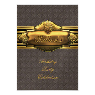 Leather Brown Gold Birthday Party Mens 60th 13 Cm X 18 Cm Invitation Card