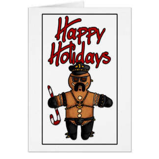 leather daddy gingerbread man greeting card