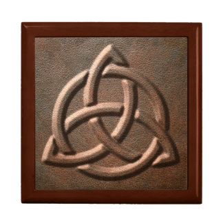Leather Embossed Trinity Knot Trinket Box