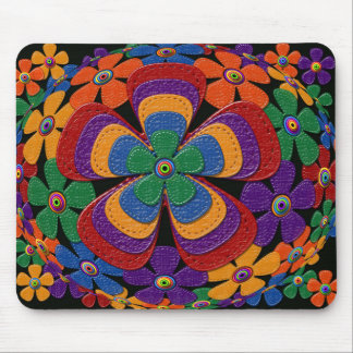 leather flowers mouse mat