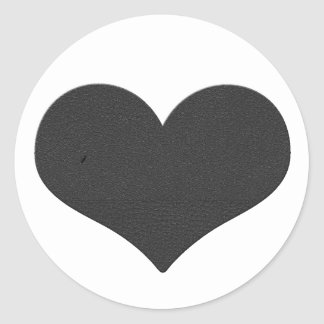 Leather Heart Round Stickers