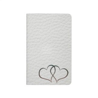 Leather Hearts - White - Note Book