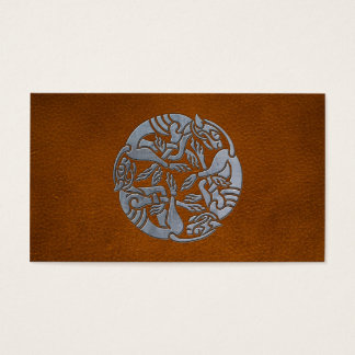 Leather Iron Celtic Dog Business Card