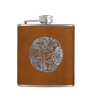 Leather Iron Celtic Dog Hip Flask