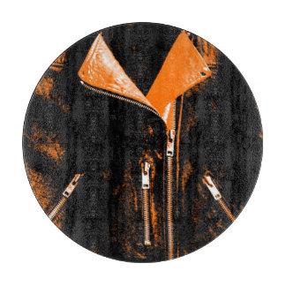 Leather Jacket Orange cutting board round