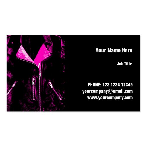 Leather Jacket Pink business card horizontal