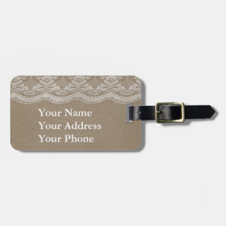 Leather & Lace Wedding Luggage Tag