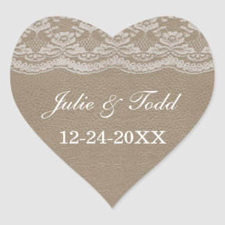 Leather Lace Wedding Save The Date Heart Stickers
