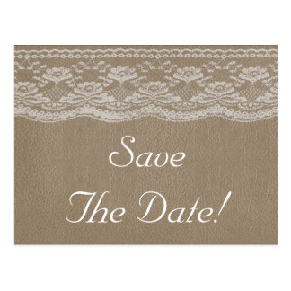 Leather & Lace Wedding Save The Date Postcard