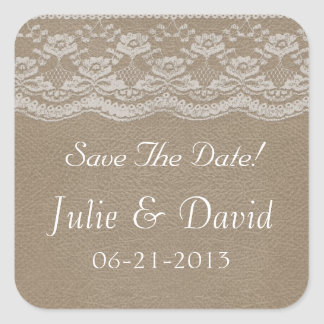 Leather & Lace Wedding Save The Date Square Sticker