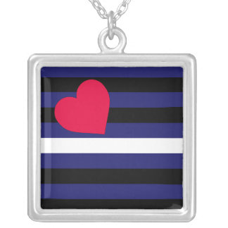 Leather Latex and BDSM Pride Flag Square Pendant Necklace
