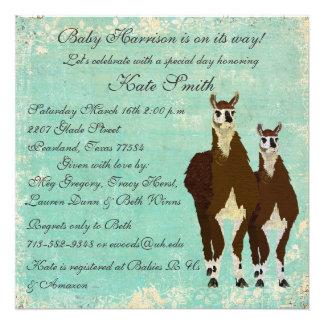 Leather Llamas Baby Invitation