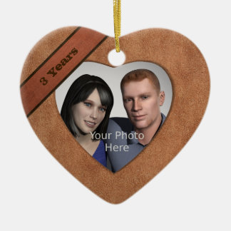 Leather Look 3rd Anniversary: Add Your Photo Ceramic Heart Decoration