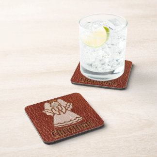 Leather-Look Angel Red Coaster