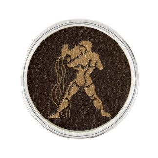 Leather-Look Aquarius Lapel Pin