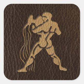 Leather-Look Aquarius Square Sticker