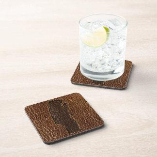 Leather-Look Black Bear Drink Coasters
