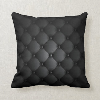 Leather Look - Black Throw Pillow
