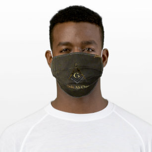 Leather Look Book Square and Compass Cloth Face Mask