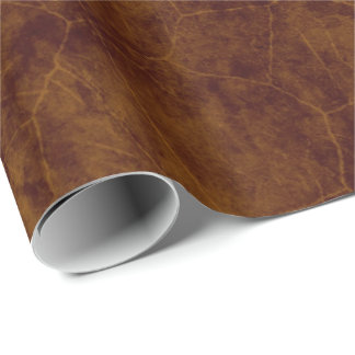 Leather look brown aged pleather wrapping paper