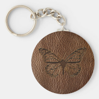 Leather-Look Butterfly Basic Round Button Key Ring