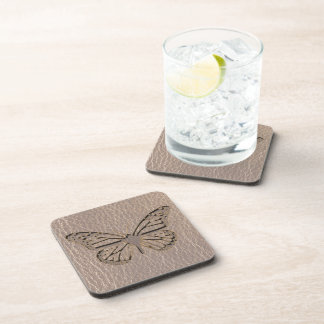 Leather-Look Butterfly Soft Drink Coasters