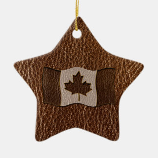 Leather-Look Canada Flag Ceramic Star Decoration
