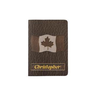 Leather-Look Canada Flag Dark Passport Holder