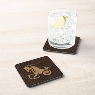 Leather-Look Capricorn Drink Coaster