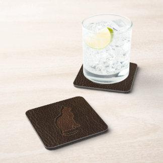 Leather-Look Cat Dark Beverage Coasters