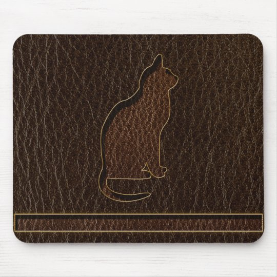 Leather-Look Cat Dark Mouse Mat