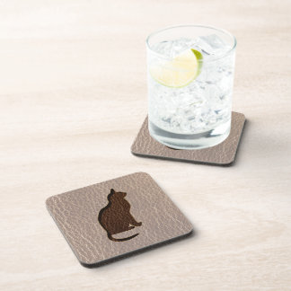Leather-Look Cat Soft Beverage Coasters