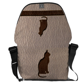 Leather-Look Cat Soft Courier Bag