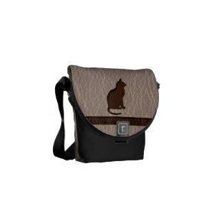 Leather-Look Cat Soft Messenger Bag