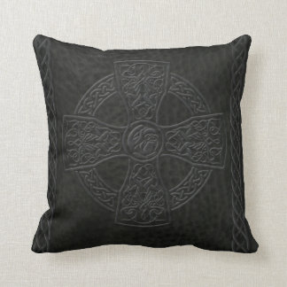 Leather Look Celtic Cross Pillow Cushion