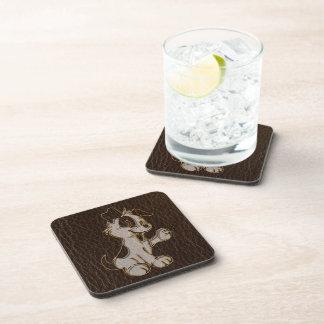 Leather-Look Dog Dark Beverage Coasters