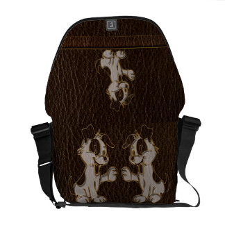 Leather-Look Dog Dark Courier Bag