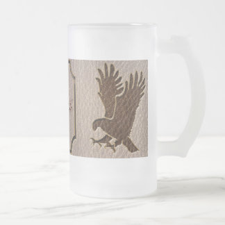 Leather-Look Eagle Soft Frosted Glass Mug