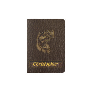Leather-Look Fish Dark Passport Holder