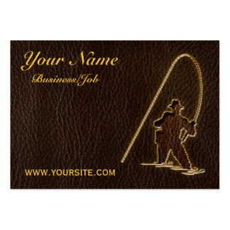 Leather-Look Fisherman Dark Business Cards