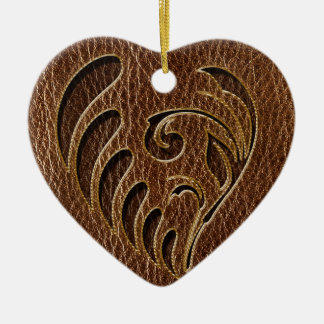Leather-Look Flower Ceramic Heart Decoration
