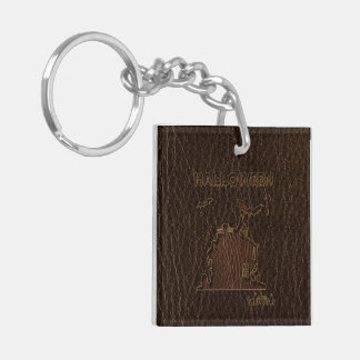 Leather-Look Halloween 1 Double-Sided Square Acrylic Key Ring